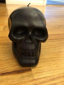 Pottery Barn Halloween Black Skull Candle New