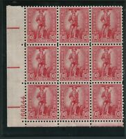 Scott #S1, 1954 Savings Stamp, Rose Red, Plate Block Of 9 Stamps, Mint NH