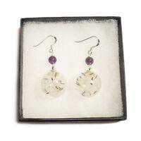 Dandelion earrings wish seed flower sterling silver gemstone amethyst garnet gem