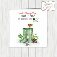 Personalised Christmas Card Xmas Holly Wellies Dad Papa Grandad Grandpa Brother