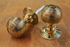 6 x Pairs of Georgian/Victorian Brass Beehive door knobs (DK1)