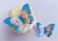 12 Frozen Butterfly Edible Wafer Paper Toppers Cake Decorations - Elsa & Anna