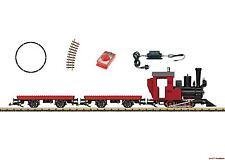 G Start-Set Dampflok mit 2 Flachwagen mit Bausteinplatte LGB 90463 Neu!!
