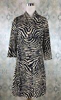 J.McLaughlin Black Beige Animal Print A Line Shift Stretchy Panama Wrap Dress L