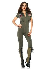 Women's Top Gun Jumpsuit Costume SIZE XL (with defect)