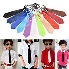 Boy Tie Kids Baby School Boy Wedding Necktie Neck Tie Elastic Solid 11 Colors WB