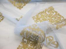 LIGHT Blue & Gold Barocco stampato Organza Tessuto per Tende. larghezza 152cm.