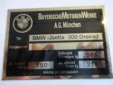 Typenschild BMW Id-plate Schild Isetta 300 Dreirad s24 3-Rad
