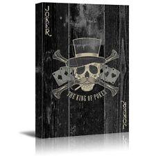 wall26 - Poker Cards Canvas Wall Art - Joker - Sir Skull with Poker Cards -12x18