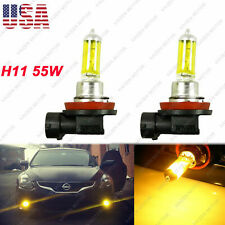 2x 3000K Pure Yellow 55W H11 Stock Halogen Bulbs Headlight Driving DRL Fog Light
