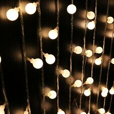 10m 100LED Globe Bulb Ball Xmas String Curtain Lamp Fairy Light Warm White Decor