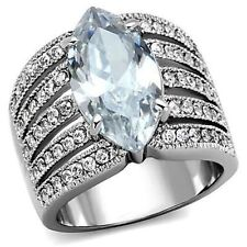 5Ct Marquise Wedding Ring Wide Band 64 acc CZ Stones Stainless Steel Size 6 9 10
