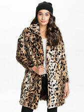 RIVER ISLAND SIZE 16-18 FAUX FUR LEOPARD ANIMAL PRINT WOMENS COAT LADIES JACKET