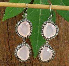 Silver Dangle Engagement Earrings B2 Faceted Pink Chalcedony Oxidized Sterling