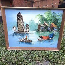 Vintage Retro Boho Tang Ping pintura al óleo originales Chino Junk/barco de pesca