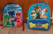 Lot Of 2 * Boys' 2-Compartment Backpacks (Paw Patrol & Pj Masks) Guc