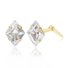 9ct yellow gold white lozenge cubic zirconia Andralok stud earrings / Gift box