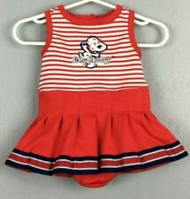 Baby Snoopy Infant Girls 1pc Skirted Poly Romper Sz 0/3 Mos                  D19