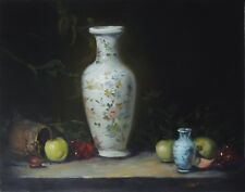 VINTAGE ORIGINAL REALISM OIL PAINTING VASES POT WITH FRUITS STILL LIFE 11X14 IN