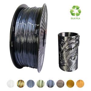 3D Printer PLA Filament Silk Black 1.75mm Silky Shine Metallic Gold 1KG 2.2LBS