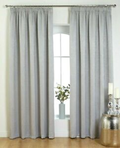 "Valentina Blockout Pencil Pleat 3"" Tape Curtains Silver Size 46"" X 72"""