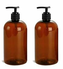2 Pcs 16 Oz Amber Dispensing Lotion Pump Bottles Black Pumps Refillable