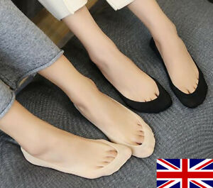 Woman Ladies Footsies Shoe Liners Invisible Socks Anti-Slip Silky Sheer One Size