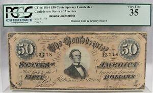 1864 $50 CT-66 Confederate Civil War Counterfeit Banknote Hoard PC-180