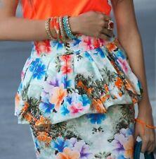 Zara Damas S 8 Falda Mini Peplum Floral Tropical Verano Mini alto aumento en muy buena condición