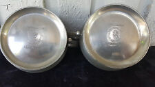 Antique CROWN & ROSE Signed Cast Pewter Cream & Sugar  Made in London, England