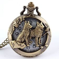 Wolf Pocket Watch Hollow Bronze Gifts Necklace Women Men's Pendant
