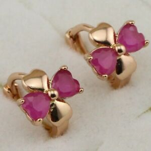 Small Cute Nice Ruby Red Gems Jewelry Rose Golden Filled Huggie Earrings E1899