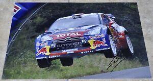 "Sebastien Loeb Signed 12"" x 8"" Colour Photo WRC Rally Champion With COA"