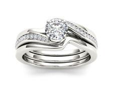 0.65 Ct Round Cut Diamond Wedding Bridal Ring Double Band Set 14k White Gold GP