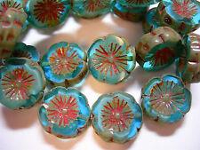 10 beads -Capri Blue Picasso Czech Glass Flower Beads 14mm