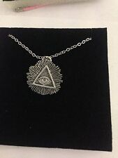 All Seeing Eye R59 Emblem Silver Platinum Plated Necklace 18""