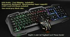 Rugged Waterproof LED RGB Mechanical Keyboard and Mouse combo