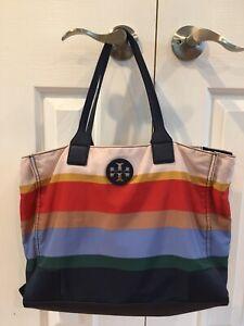 TORY BURCH Multi Stripe Bag w/ Navy Leather Handles Tote Bag
