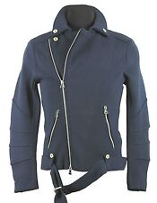 Pierre Balmain heavy knit biker jacket navy