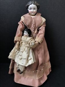Lot of 2 Antique German China Head Dolls Mother with Child Dollhouse Dolls
