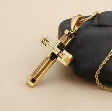 GNAYY Hip-hop Men Large Gold stainless steel Wire Cross Pendant Necklace Chain