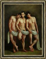 "Original Oil Painting art gay three male nude on Canvas 30""x40"""