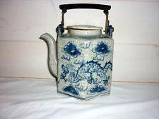 Ancienne théiere  PORCELAINE CHINE BLANC BLEU signé Teapot Chinese Mark antik