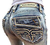 Rock Revival Jeans Low Rise Faux Flap Bootcut Stretch 27 28 29 30 31 32 33 34 36