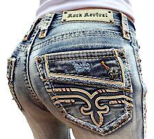 Rock Revival Jeans, Cintura Baixa Faux Aba Larga Stretch 27 28 29 30 31 32 33 34 36