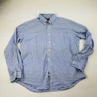 Ralph Lauren Men's Shirt Custom Fit Blue White Button-Front Long Sleeves XL
