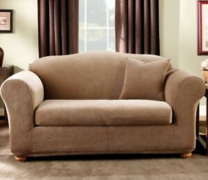 Sure Fit Stretch Stripe 2-Piece - Sofa Slipcover - Chocolate NEW
