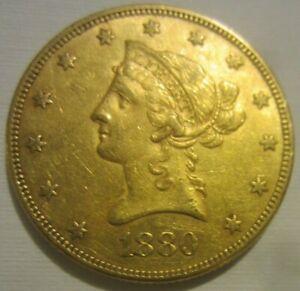 1880 $10 Dollar Gold Lady Liberty U.S. Eagle Coin