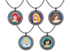 5 Disney PRINCESSES 3D Bottle Cap Necklace Birthday Party Favors #1