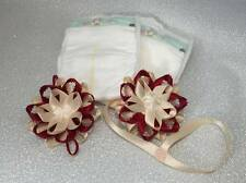 burgundy and butter cream reborn preemie headband, dummy clip, and nappy set.